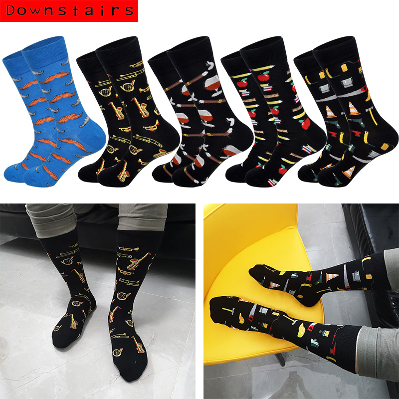 Downstairs Moustache Men Socks Musical Instruments 2019 New Arrived 5 Selects Fashions Happy Socks Calzini Calze Uomo