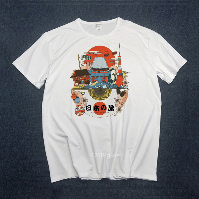 Cotton T-Shirt,Vintage Pale Circles Fashion Personality Customization