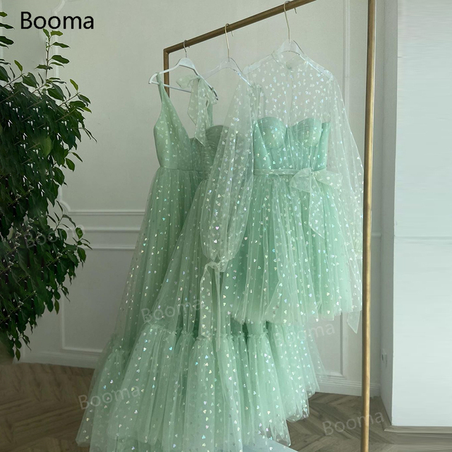 Booma Mint Green Hearty Prom Dresses 2021 Tied Bow Straps Sweetheart Midi Prom Gowns Pockets Tea-Length Wedding Party Dresses 5