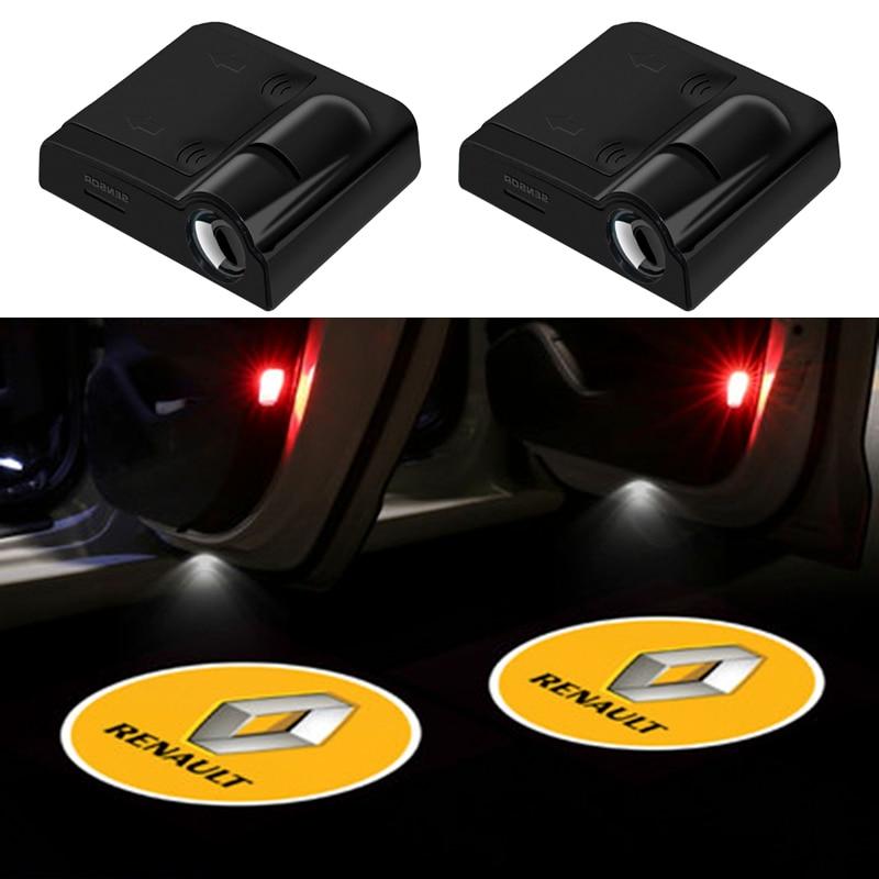 2 шт. беспроводной светодиодный Автомобильный Дверной лазерный проектор с логотипом Ghost Shadow для Renault Megane 2 3 Duster Logan Clio Captur