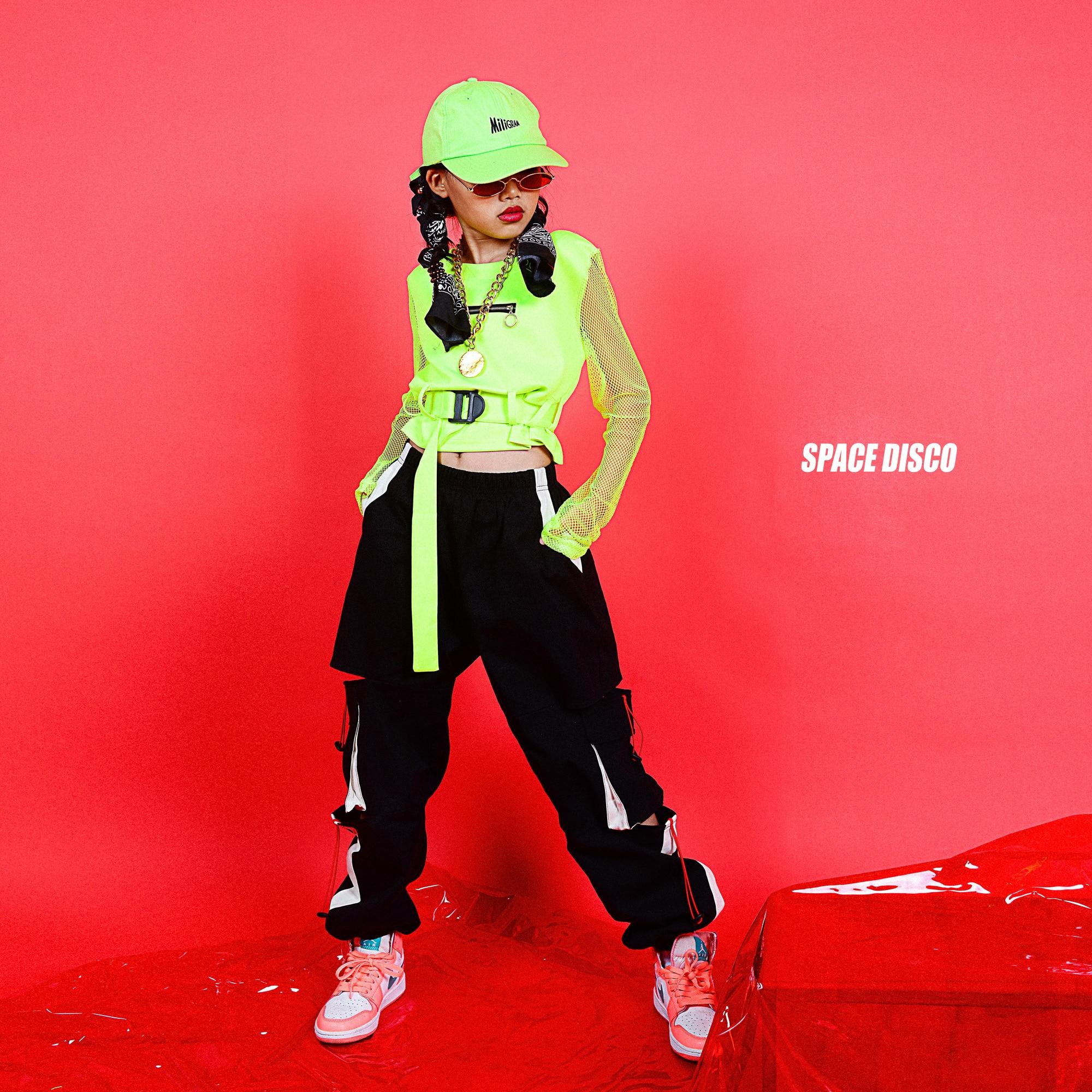 Girls Jazz Dance Costume Children'S Street Dance Clothing Fluorescent Green Top Hiphop Pants Ballroom Hip Hop Clothing DQS3417