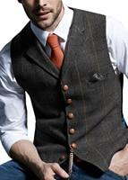 Men's Casual suit Vest Notch Lapel Wool Tweed Herringbone Waistcoat For Wedding Groomsmen