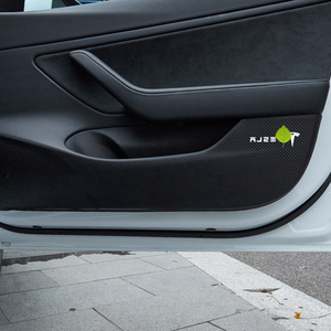 Image 5 - רכב דלת אנטי בעיטת הגנת מחצלת עור סיבי פחמן מדבקות עבור טסלה דגם 3 2017   2021 אוטומטי פנים אבזרים