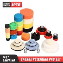 Spta 29 pçs 1/2/3 polegada enceramento esponja almofada de polimento almofadas de lã placa de apoio sistema de ferramentas de polimento do carro para da/ro máquina de polimento