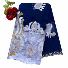 2020 Latest African Women Scarf 100% Cotton Muslim Scarf Embroidery Splicing with Net Big Size Scarf for Shawls EC229