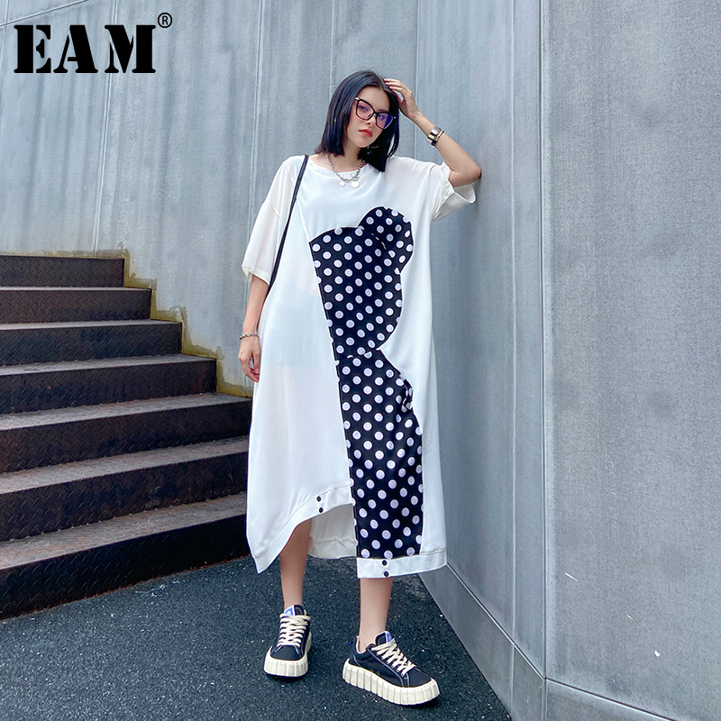 [EAM] Women White Dot Printed Big Size Irregular Dress New Round Neck Half Sleeve Loose Fit Fashion Spring Summer 2020 1X433