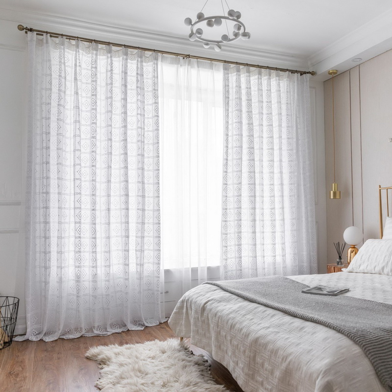 Image 4 - Modern Openwork Lace Curtains for Living Room Beige/White Knit Hollow out Window Drapes for Balcony Can Be TableCloth X M181#40Curtains   -