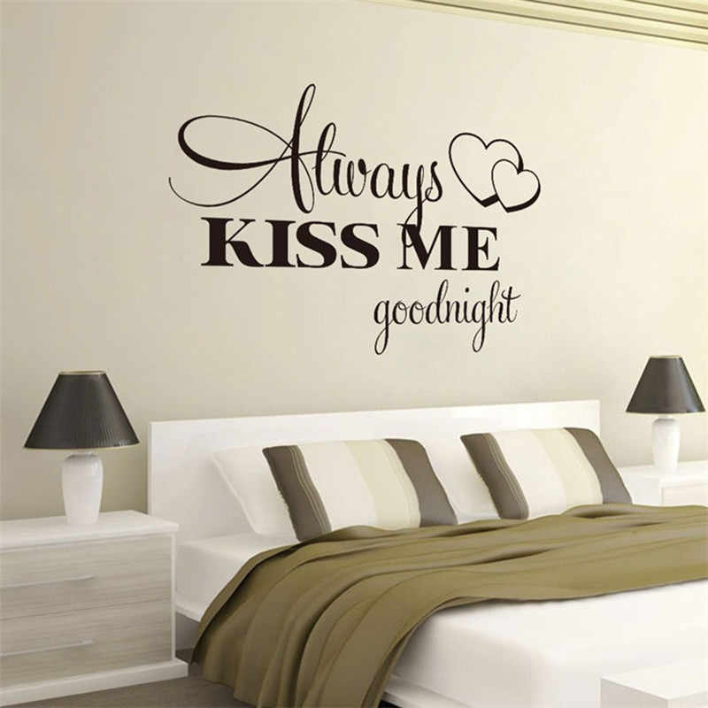 KAKUDER PVC Wallpaper Always Kiss Me Goodnight Home Decor Wall Sticker Decal Bedroom Vinyl Art Mural Stickers decoration maison
