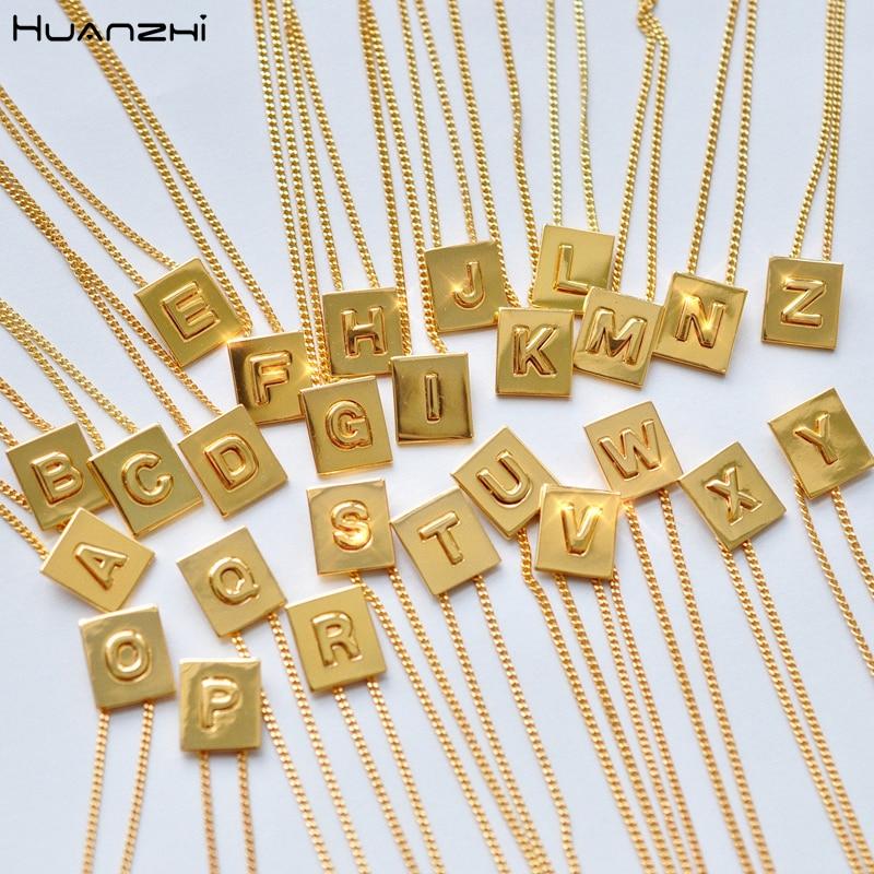 HUANZHI Letter Pendant Metal Necklace Geometric Simple Jewelry Gold Korean Girls Women