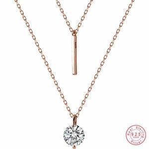 Image 1 - WANTME Fashion Echtes 100% 925 Sterling Silber Doppel Kreuz Seil Schlüsselbein Kette Runde Kristall Zirkon Anhänger Halskette Frauen