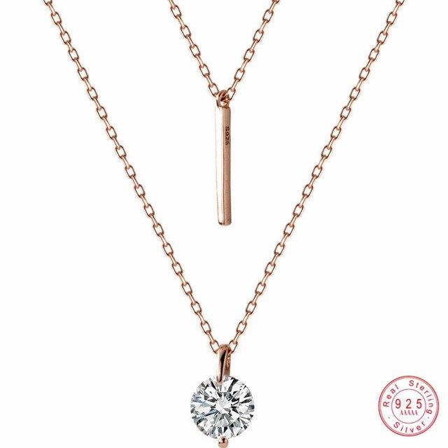 WANTME Fashion Echtes 100% 925 Sterling Silber Doppel Kreuz Seil Schlüsselbein Kette Runde Kristall Zirkon Anhänger Halskette Frauen