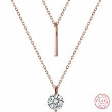 Wantme Mode Echt 100% 925 Sterling Zilveren Dubbel Kruis Touw Sleutelbeen Keten Ronde Crystal Zircon Hanger Ketting Vrouwen