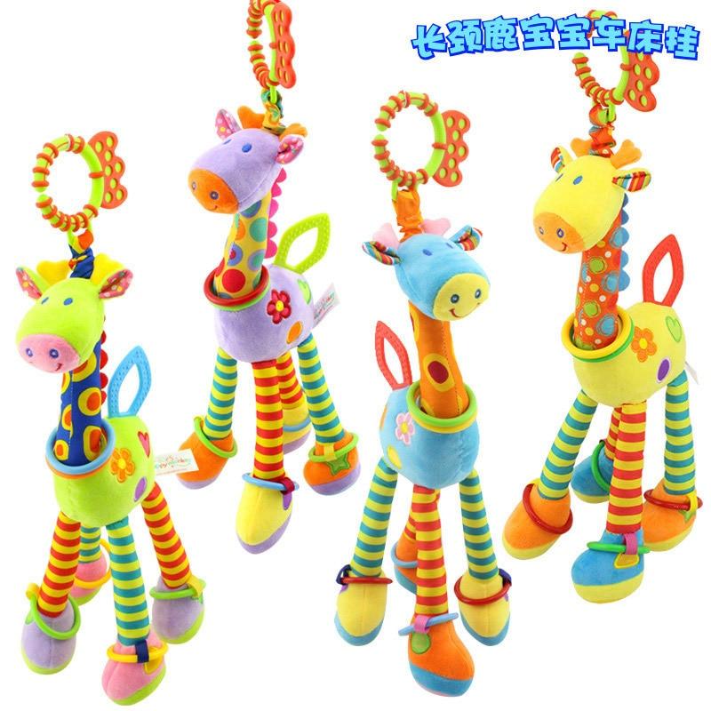Stroller Bed Hanging Plush Toys Baby Giraffe Bell Teether Comforter Toys