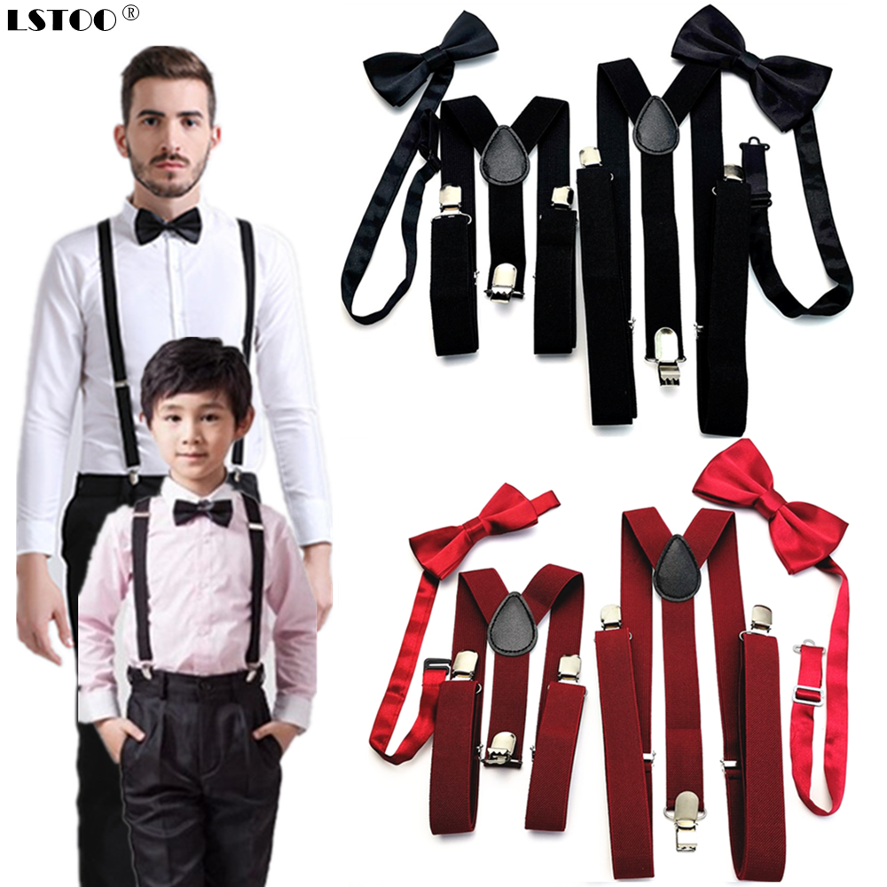 Unisex Parent-Kids Suspenders Bow Tie Set Adjustable Elastic Suspender Braces Bowtie Sets Solid Color Family Wedding Party Gift