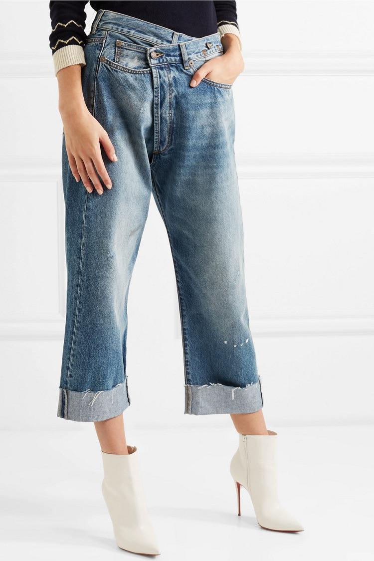 Women Jeans Irregular Cross Waist New 2020 Straight High Waist Loose Wild Leg Pants Denim Trousers Female Clothes