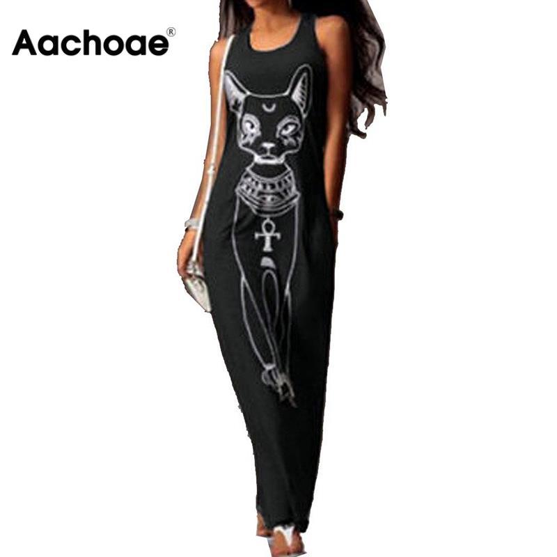 Women Long Maxi Dress 2020 Fashion Cat Print Bodycon Dress Elegant Evening Party Dresses Tunic Vestidos Largos Plus Size