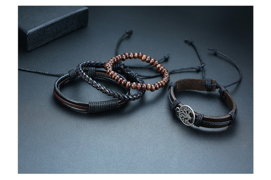 Hdccd83de511748d5a1e24a5c0a043cc8x - Vnox 4Pcs/ Set Braided Wrap Leather Bracelets for Men Vintage Life Tree Rudder Charm Wood Beads Ethnic Tribal Wristbands