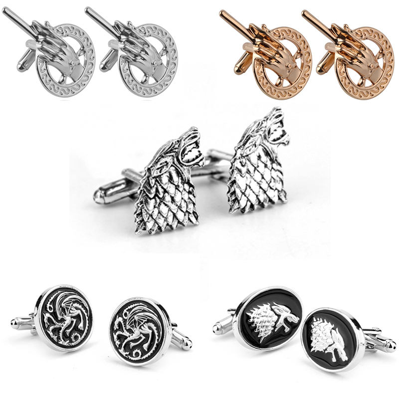 Hot HBO TV Series Game Of Thrones Cufflinks Fashion Metal Song Of ice and fire shirt button cuff links Jewelry Gift image