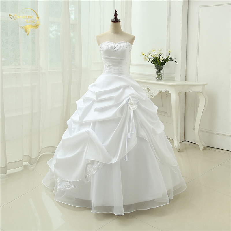 Wedding Gown A Line Vestido De Noiva Applique Sequins Sweetheart Casamento White Ivory Plus Size 2019 Wedding Dresses OW 2043