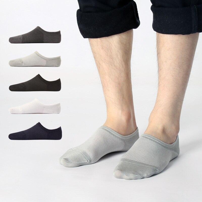 5 пар/лот бамбуковые тонкие дышащие мужские носки сетчатые забавные носки унисекс Противоскользящие силиконовые носки-лодочки уличная