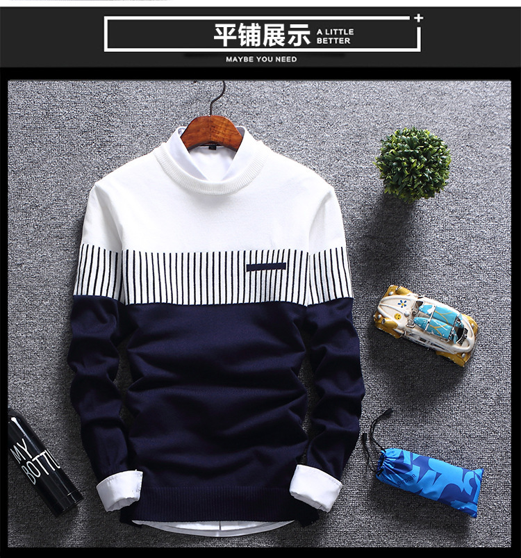 Hdccda5b8379a494e96c405bd5f50b7c27 - New Men's Autumn Winter Pullover Wool Slim Fit Striped Knitted Sweaters Mens Brand Clothing Casual pull homme hombre