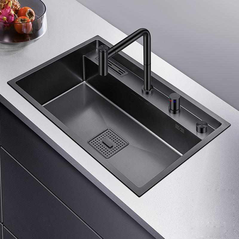 Black Single Kitchen Sink Above Counter Or Udermount Vegetable Washing Basin 304 Stainless Steel Large Thickening Sink Bowl