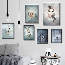Home Decor Sweet Poster Nordic Canvas Art Painting Wall Cartoon Girl Animal Abstract Watercolor Print Kid Bedroom Picture