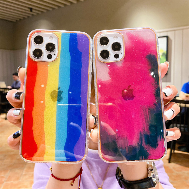 Phone Case For iPhone 12 Mini 12 11 Pro X XR XS Max 7 8 Plus SE 2 Luxury Shining Plating Colorful Rainbow Watercolor Phone Case