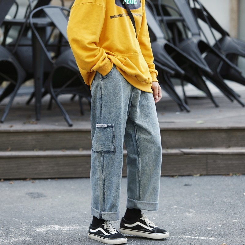 Autumn New Jeans Men Fashion Washed Solid Color Straight Casual Denim Trousers Man Streetwear Wild Hip Hop Loose Male Clothes