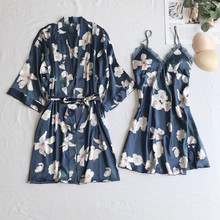 2PCS Robe Set Women Nightgown Sexy Kimono Bath Gown Blue Floral Sleepwear Soft Nightdress Casual Nightwear Intimate Lingerie