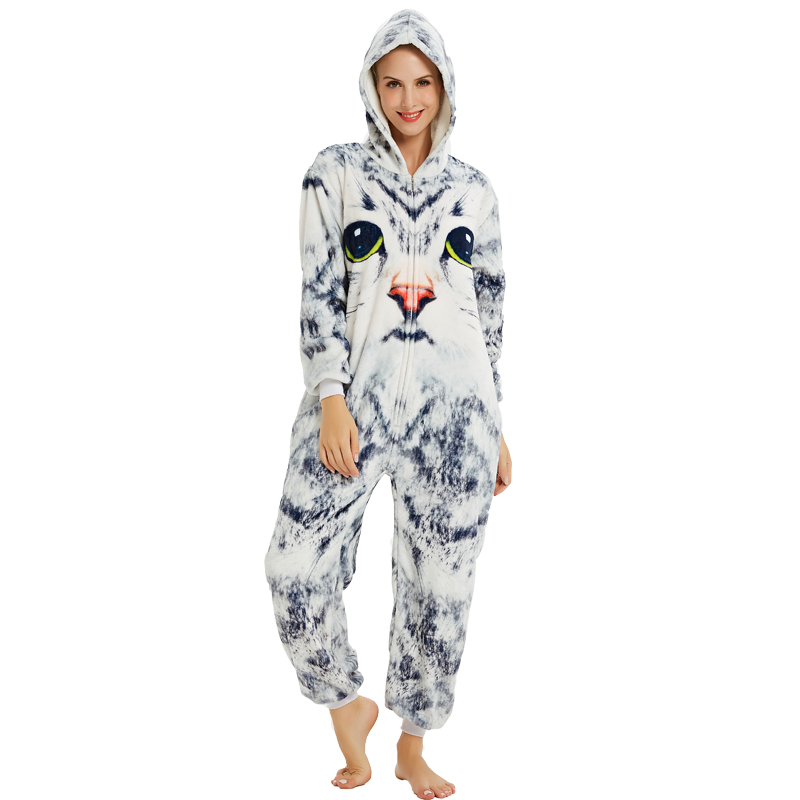 Women NEW 3D Cat Pajamas Set Winter Soft Hooded Cartoon Sleepwear Adult Men Women Animal Cosplay Christmas Homewear Onesies