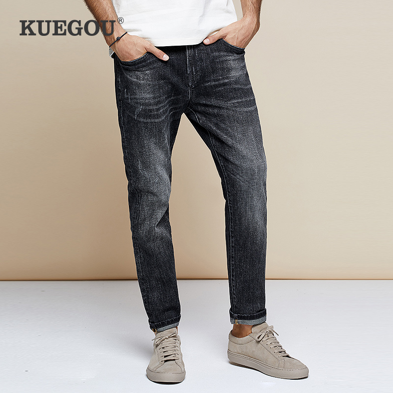 KUEGOU Men's Jeans Leisure To Wash The Old Type Micro Elastic Straight Jeans Fashion Men's Wear Black Pants   LK-1785