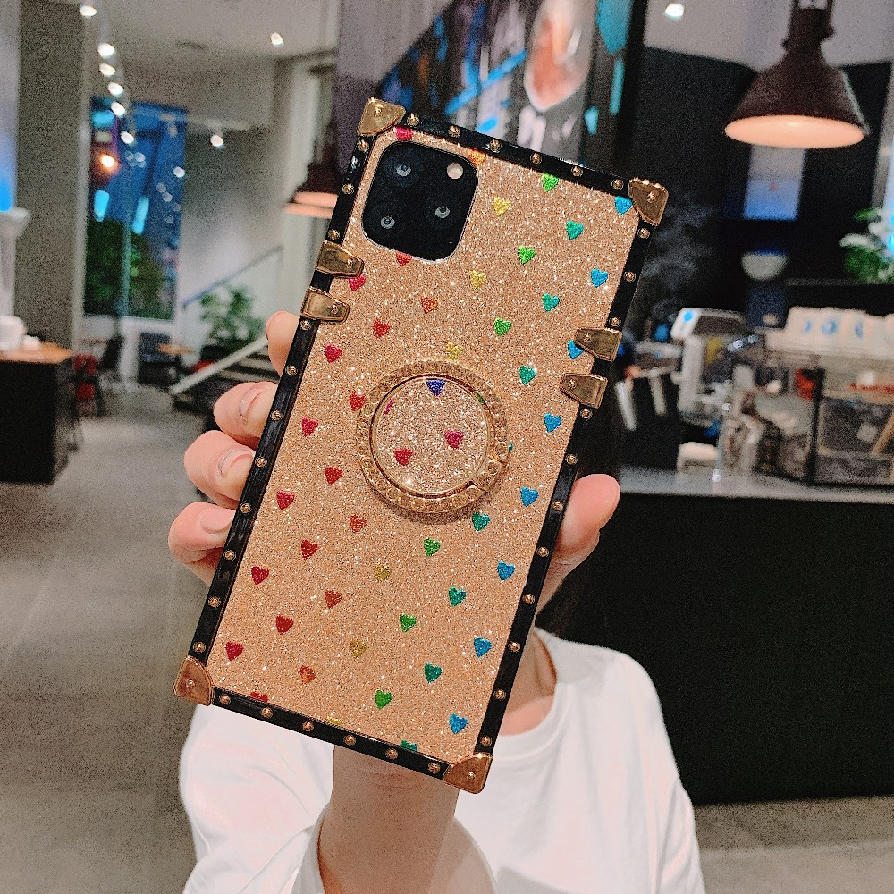 Cases For iPhone 11 Pro Max Xr Xs Max Coque Square Diamond Stand Love Heart Bling Sequins Case For iPhone X 6 6S 7 8 Plus Cover (4)