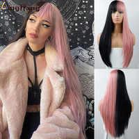 Pelucas sintéticas largas y rectas de LINGHANG, pelucas de pelo negro a rosa dorado con flequillo para mujer, pelucas Afro resistentes al calor de alta densidad