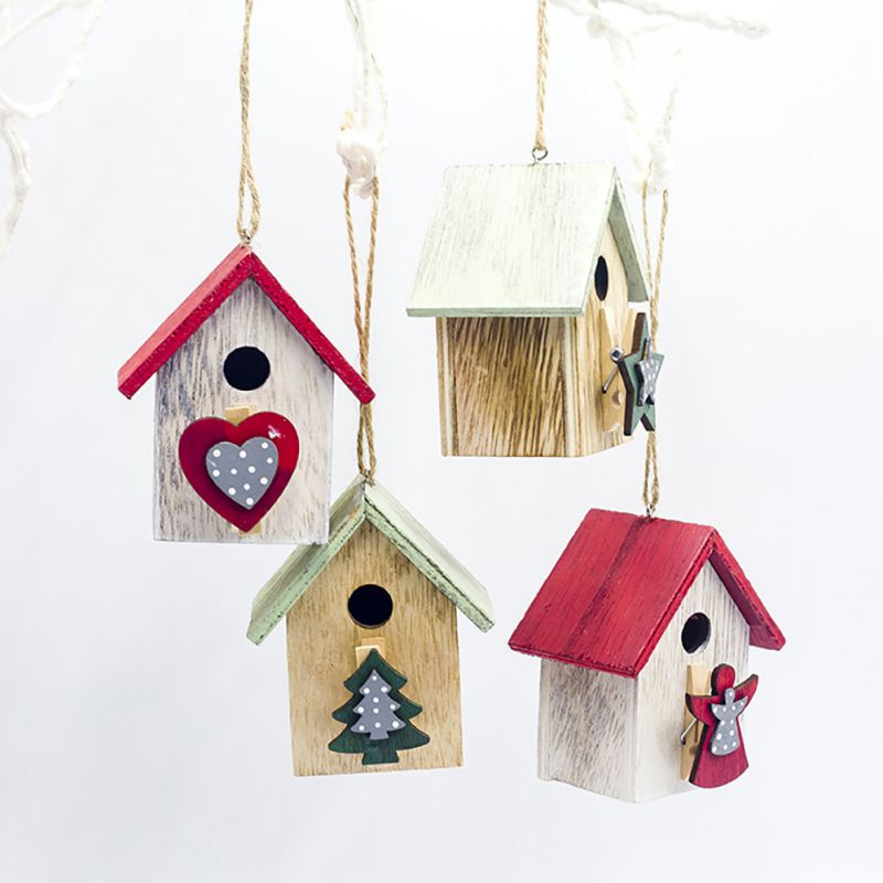 Color Painted Wooden House Christmas Drop Ornament Wedding Party Ornaments Hanging Decoration Supplies Kids Gifts