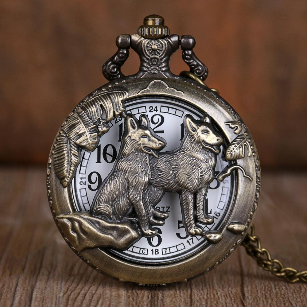 Vintage Bronze Wolf Hollow Quartz Pocket Watches Pendant Men Women Fob Watch Best Gifts CF1079