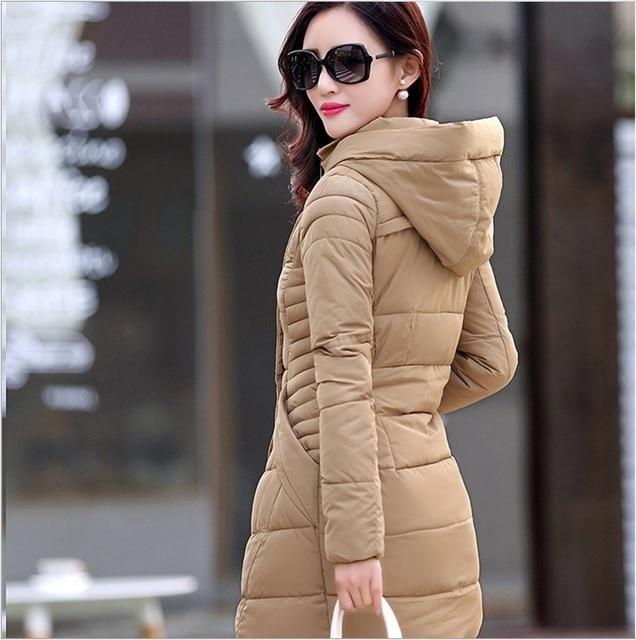ZOGAA Long Jackets Women's Winter Warm Thicken Parkas Coat Solid Slim Long Parkas Cotton Padded Outwear Button Zipper Overcoats