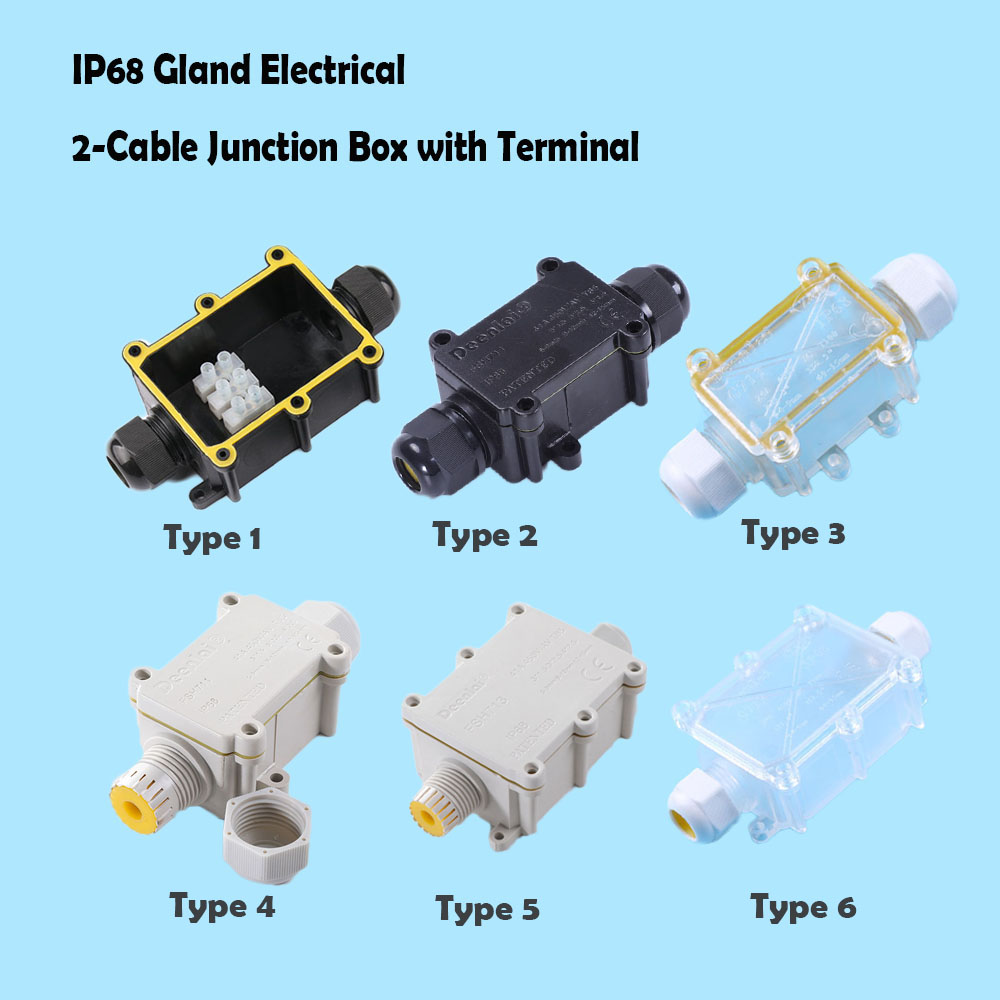 IP68 Waterproof Black Black Transparent Plastic Cable Wire Connector Gland Electrical 2-Cable Junction Box With Terminal