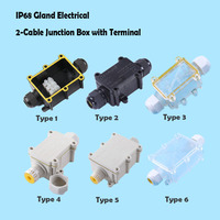IP68 Waterproof Black Black Transparent Plastic Cable Wire Connector Gland Electrical 2 Cable Junction Box with Terminal|Wire Junction Boxes| |  -