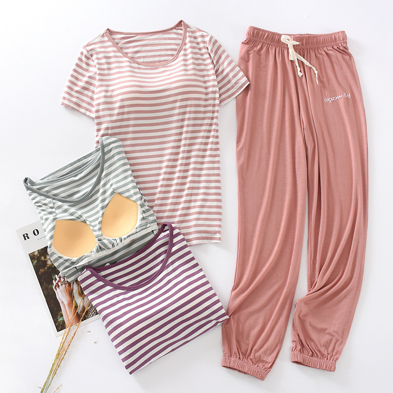 Casual Striped Chest Pad Atoff Home Suit Women's Modal Homewear 2 Piece Summer Spring Home Cloth Sleepwear Female Pajamas Set