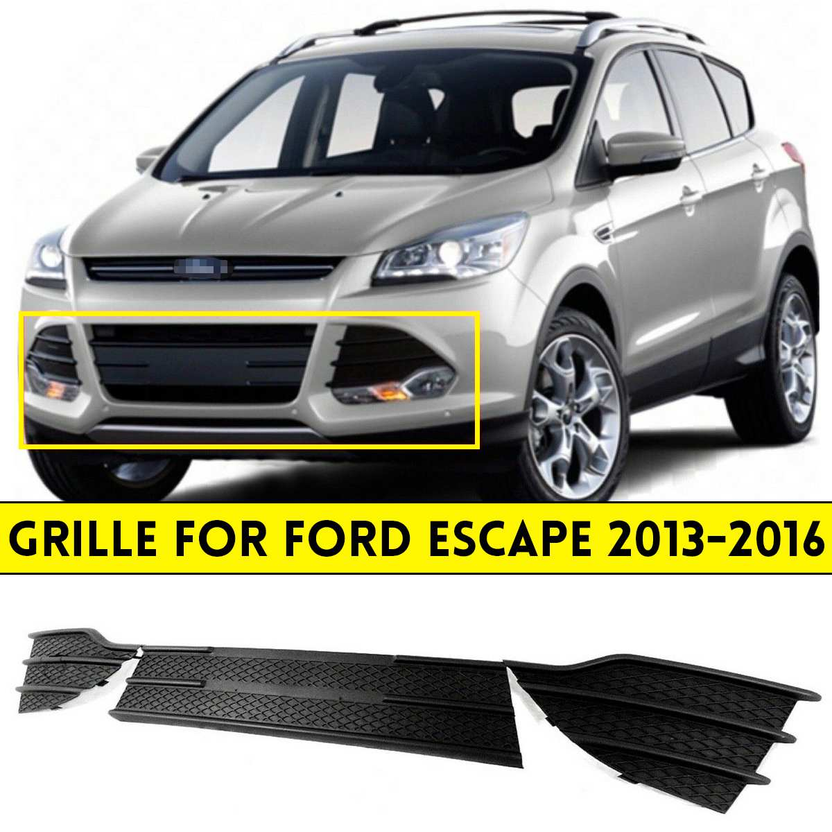 NEW 3 Pcs Set Black Front Left Right Bumper Grille Cover Grille Grill Triangular Grill For Ford Escape 2013 2106 Racing Grills     - title=