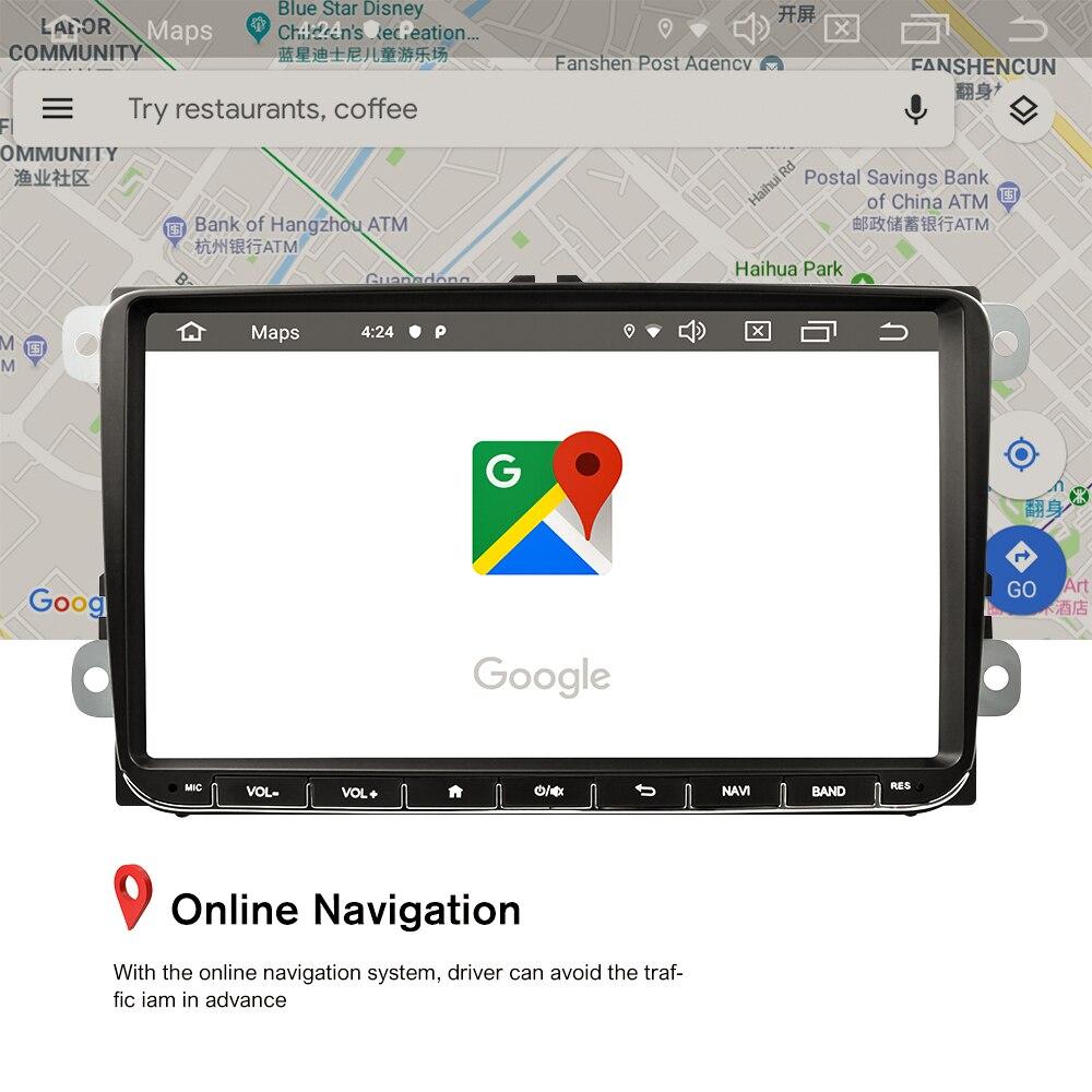 AMPrime Android 9,0 автомобильный радиоприемник стерео 9 ''емкостный сенсорный экран gps wifi Bluetooth 2G + 16G память Авторадио для Passat Golf MK5