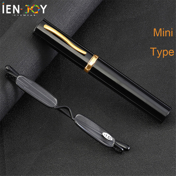 IENJOY Elegant Reading Glasses Metal Frame Ultra-thin Men Reading Glasses Portable Mini Reading Presbyopia Eyeglasses with Box reading