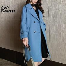 Xnxee Autumn Winter Long Leisure Coat Female Pockets Fashion Slim Jacket Wool