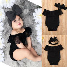 Newest 2PCS Newborn Baby Girl Clothes Romper Bodysuit Headband Outfit Set Indent