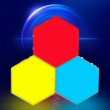 RGB Quantum Light LED Touch Sensor Night Light Changeable Colorful Hexagon Night Lamps DIY Decorative Magnetic Wall Lamps