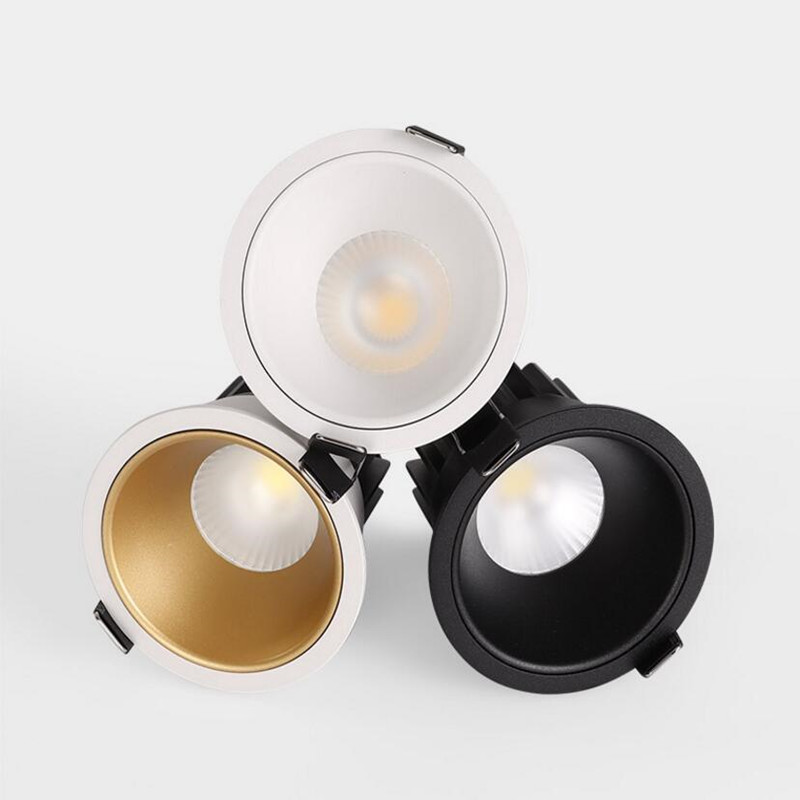 Dimmable Circular Anti Glare COB LED Downlights 9W/12W LED Ceiling Spot Lights Warm Cold White Background Lamps Indoor Lighting