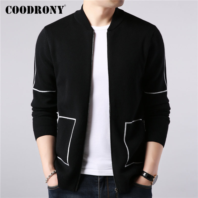 COODRONY Brand Sweater Coat Men Autumn Winter Thick Warm Wool Cardigan Men Streetwear Fashion Striped Zipper Coats Pockets 91091