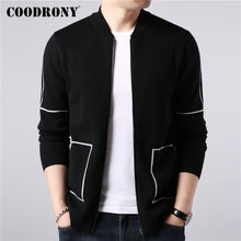 COODRONY Brand Sweater Coat Men Autumn Winter Thick Warm Wool Cardigan Men Streetwear Fashion Striped Zipper Coats Pockets 91091