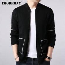 Coodrony 브랜드 스웨터 코트 남자 가을 겨울 두꺼운 따뜻한 양모 카디건 남자 streetwear 패션 줄무늬 지퍼 코트 포켓 91091